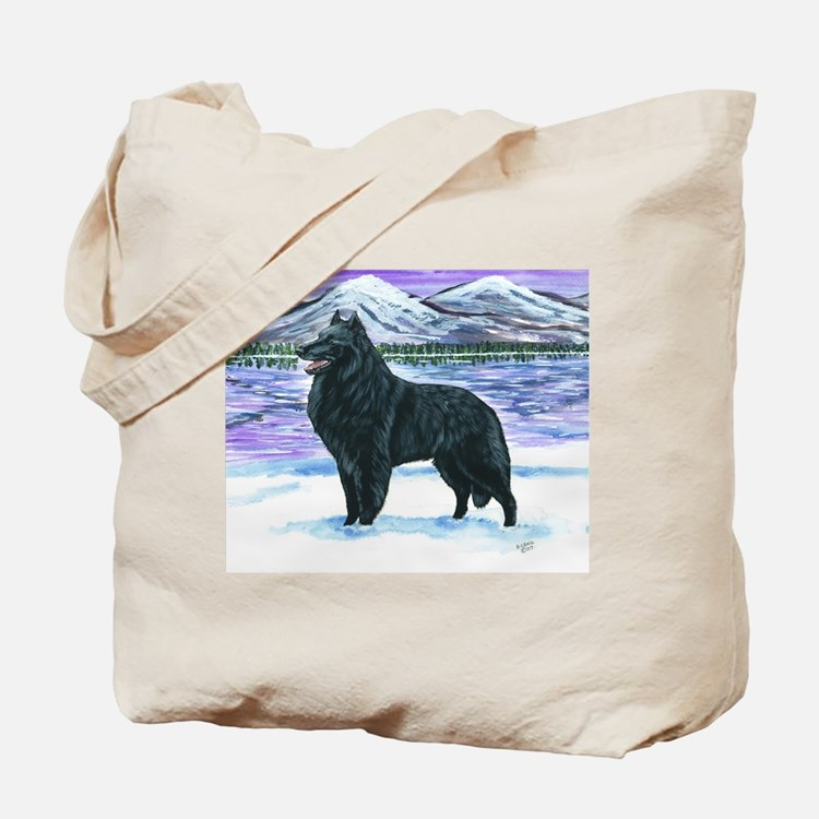 Belgian Sheepdog In Snow Tote Bag
