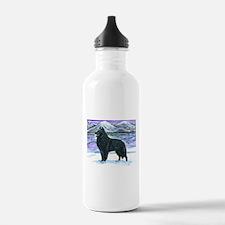 Belgian Sheepdog In Snow Water Bottle