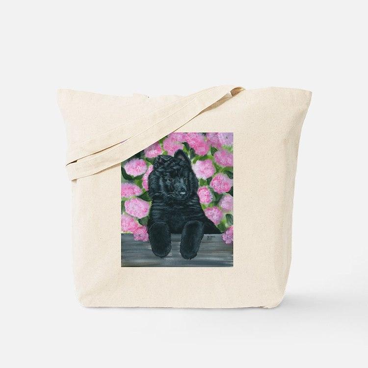 Belgian Sheepdog Fence Pup Tote Bag