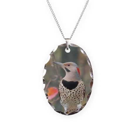 Common Flicker Necklace Oval Charm