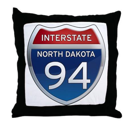 Interstate 94 - North Dakota Throw Pillow