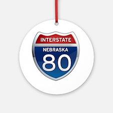 Interstate 80 - Nebraska Ornament (Round)