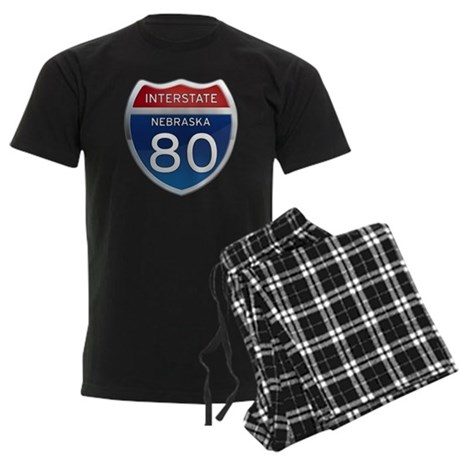 Interstate 80 - Nebraska Men's Dark Pajamas