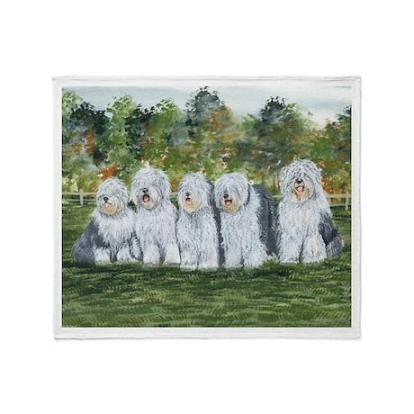 Old English Sheepdog Throw Blanket