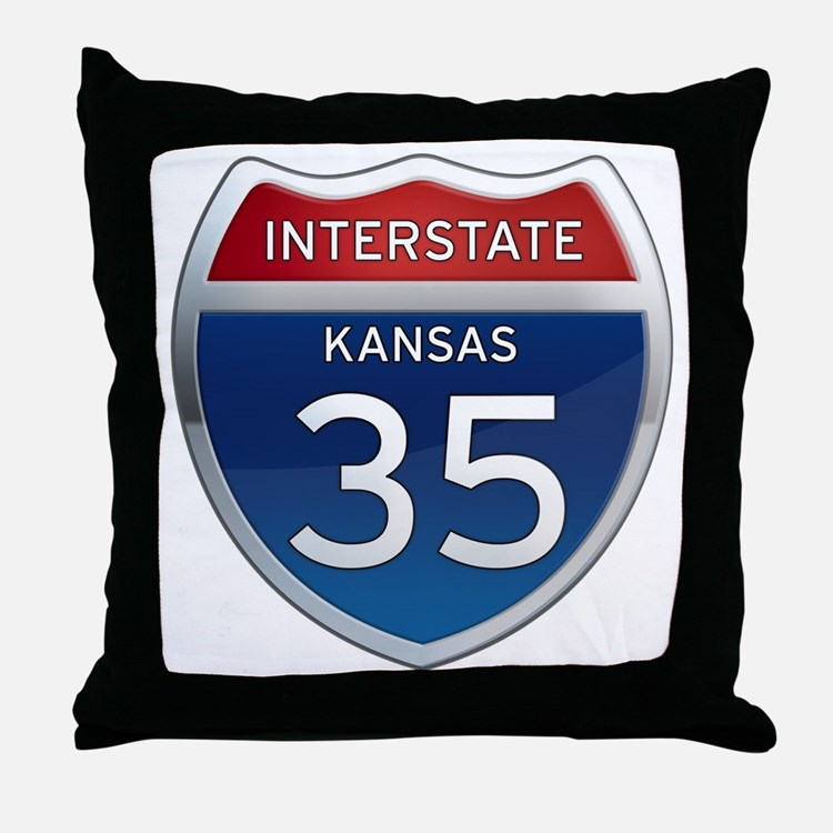 Interstate 35 - Kansas Throw Pillow