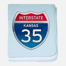 Interstate 35 - Kansas baby blanket