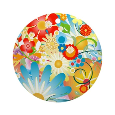 Floral Explosion summer colors Ornament (Round)