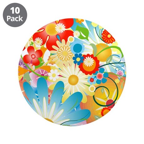 "Floral Explosion summer colors 3.5"" Button (10 pac"