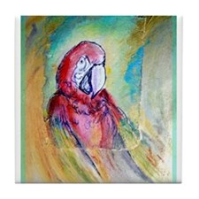 Scarlet Macaw, Parrot art! Tile Coaster