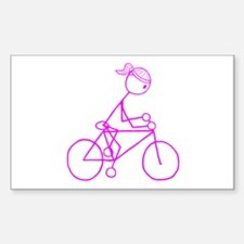 Bicycle Girl- Pink Sticker (Rectangle)
