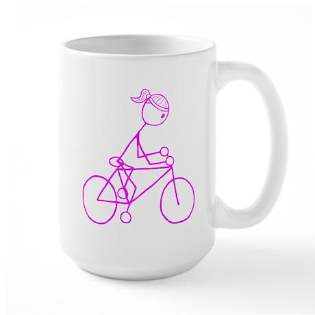 Bicycle Girl- Pink Large Mug