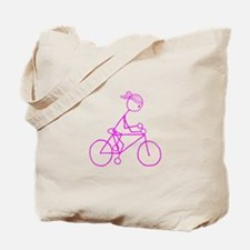 Bicycle Girl- Pink Tote Bag
