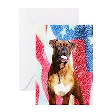 Patriotic Boxer Dog Greeting Card