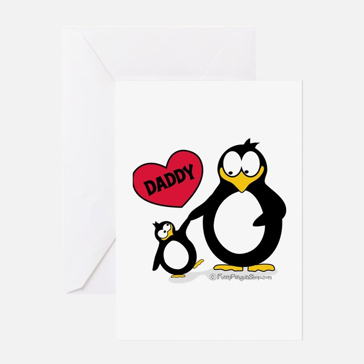 Heart Daddy Penguin Greeting Card