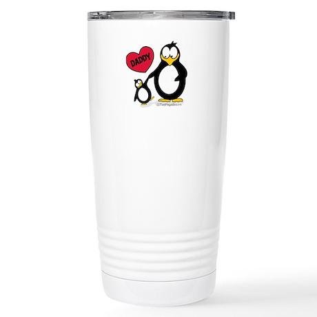 Heart Daddy Penguin Stainless Steel Travel Mug