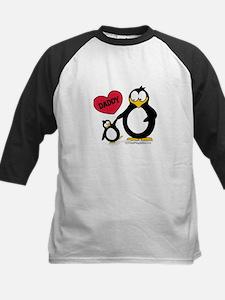 Heart Daddy Penguin Kids Baseball Jersey