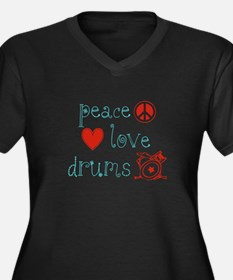 Peace, Love and Drums Women's Plus Size V-Neck Dar