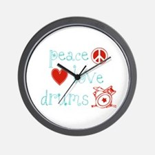 Peace, Love and Drums Wall Clock