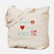 Peace, Love and Drums Tote Bag