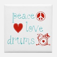 Peace, Love and Drums Tile Coaster