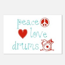 Peace, Love and Drums Postcards (Package of 8)
