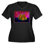 Three Pears Women's Plus Size V-Neck Dark T-Shirt