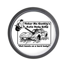Tater's Auto Body Shop Wall Clock