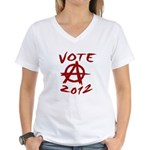Anarchy 2012 red Women's V-Neck T-Shirt