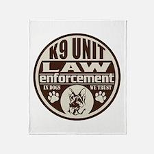 K9 In Dogs We Trust Dark Brown Throw Blanket