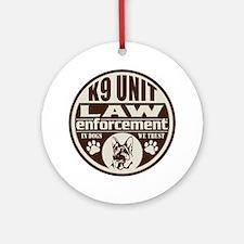 K9 In Dogs We Trust Dark Brown Ornament (Round)