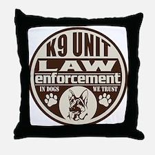 K9 In Dogs We Trust Dark Brown Throw Pillow