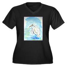 Egret, beautiful, bird art, Women's Plus Size V-Ne