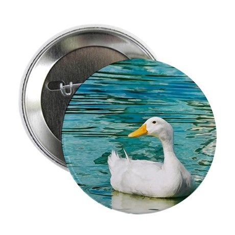 "White Pekin Duck Photo 2.25"" Button"