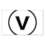 Circle V Sticker (Rectangle 50 pk)