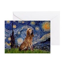 Starry Night Bloodhound Greeting Cards (Pk of 10)