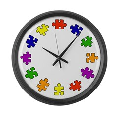 Colors of Autism Large Wall Clock