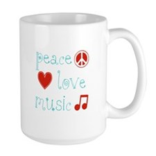 Peace, Love and Music Mug