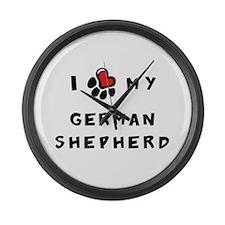 I *heart* My German Shepherd Large Wall Clock
