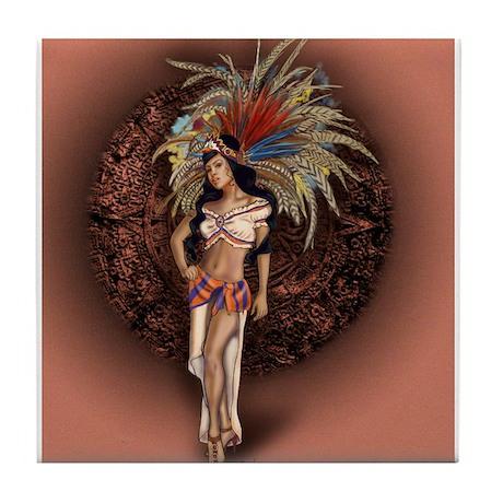 Aztec Princess Pin-Up Tile Coaster
