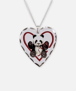 China Panda Love Necklace Heart Charm