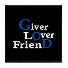 Giver Lover Friend (black) Tile Coaster