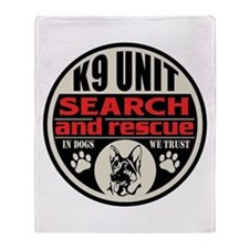 K9 Unit Search and Rescue Throw Blanket