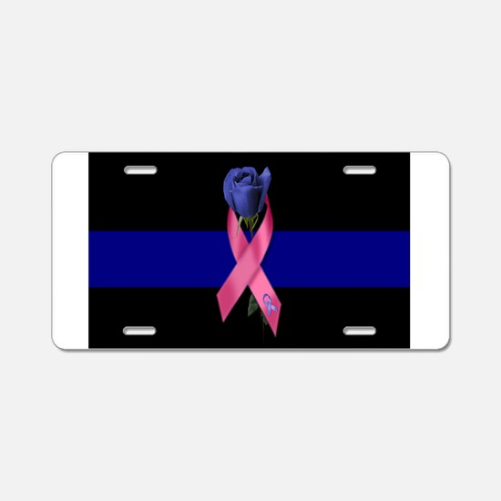 Blue Line Rose Aluminum License Plate