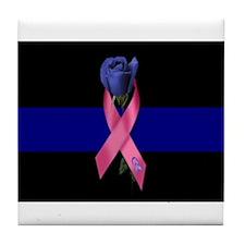 Blue Line Rose Tile Coaster