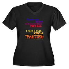Teach Tech For Life! Women's Plus Size V-Neck Dark
