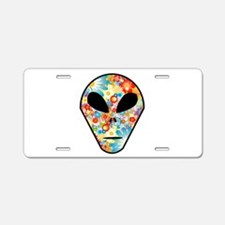 Alien Flower Head Aluminum License Plate