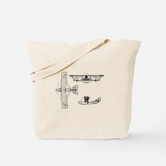 Airplane Blueprint Tote Bag