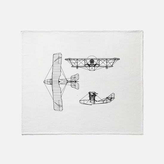 Airplane Blueprint Throw Blanket