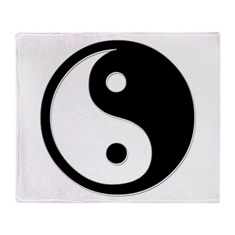Black Yin Yang Throw Blanket