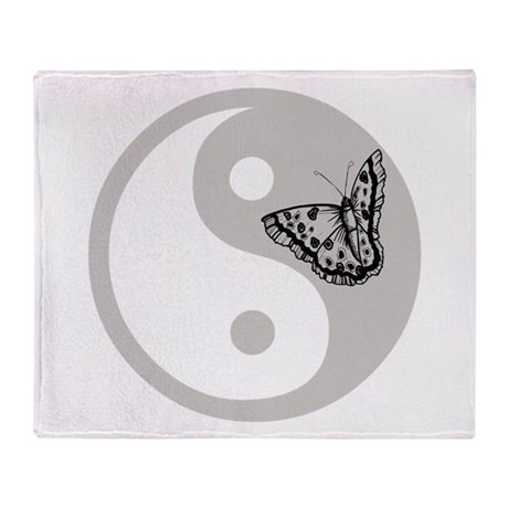 Butterfly Yin Yang Throw Blanket